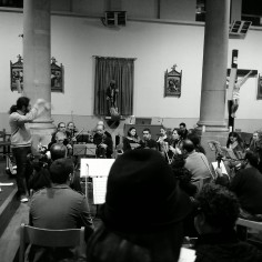 Practicing with the orchestra